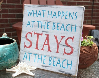 Beach Sign Nautical Coastal Decor  Coral and Turquoise