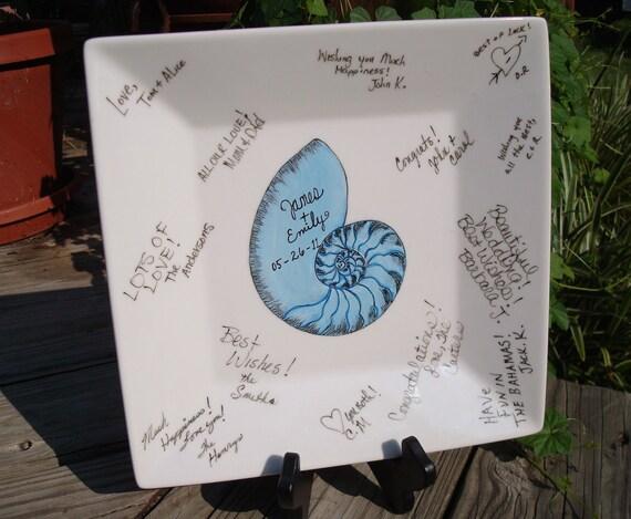 Guest Book Signature Plate Beach Wedding Custom Nautilus Shell  KEEPSAKE  Coastal Decor