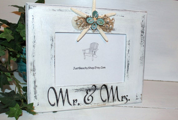 Beach Wedding Frame with Starfish Mr & Mrs Shabby Chic Coastal Decor
