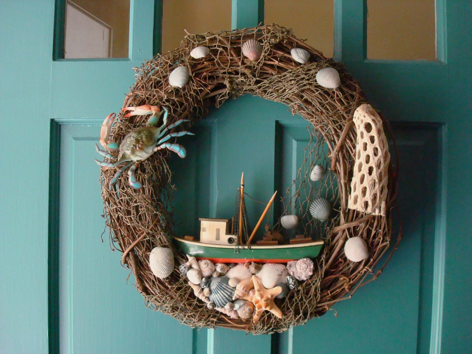 Large Nautical Crab And Fishing Boat Grapevine Wreath Cottage