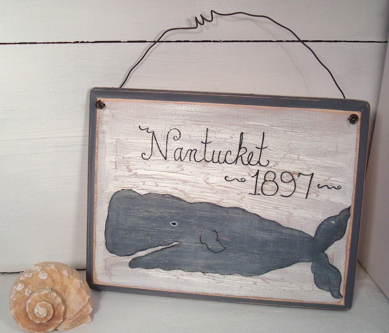Vintage Nautical Bedding: Nantucket Sign Vintage Nautical Style Whale COASTAL DECOR