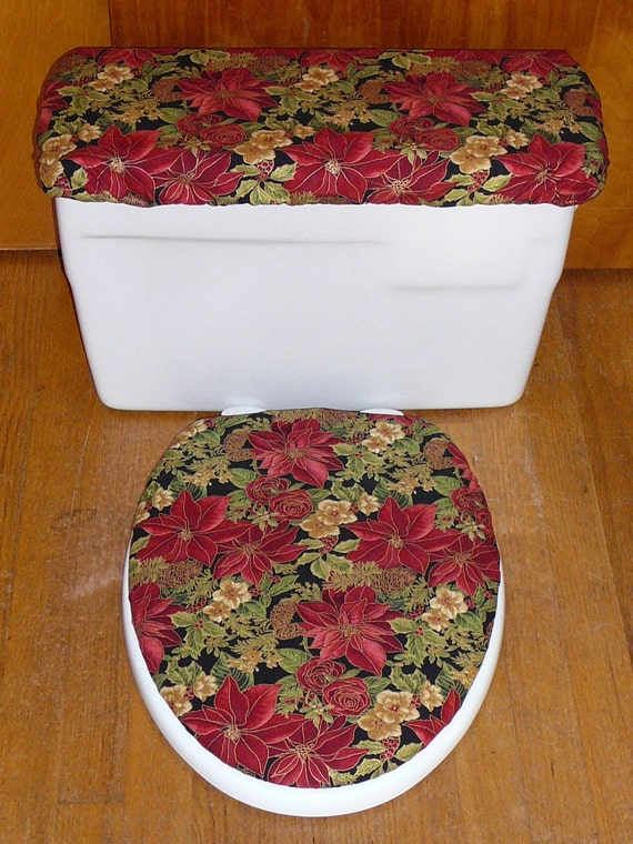 Christmas Poinsettia Toilet Seat And Tank Lid Cover Set