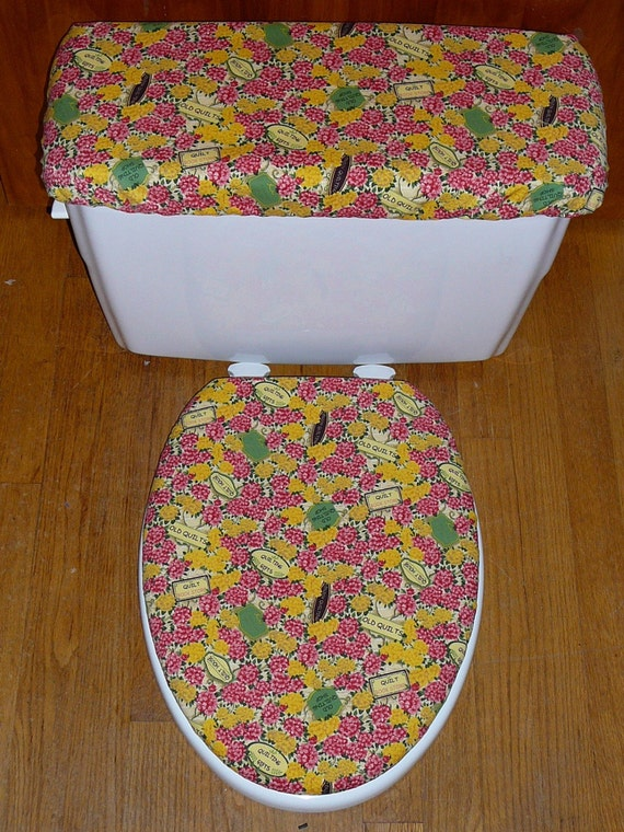 Quilt Lovers Toilet Seat Cover and Tank Lid Cover Set
