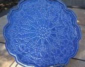 """Ceramic Platter Blue Denim Color Lace Doily 10"""" diameter"""