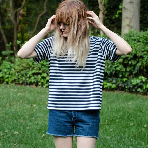 Classic Navy & White Stripe Shirt - M