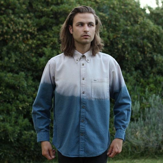 Dip Dye Button Up Shirt - M