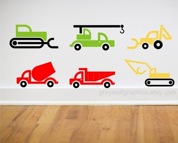 Heavy Equipment Decals : Wall decal set of construction heavy by greywolfgraphics