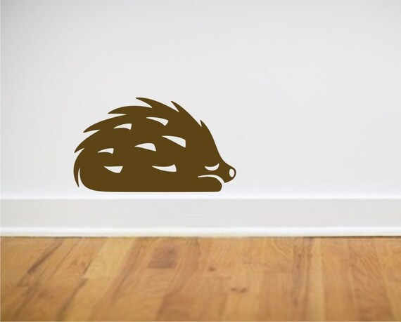 Brown Hedgehog vinyl wall decal from Fairytale Forest Scene
