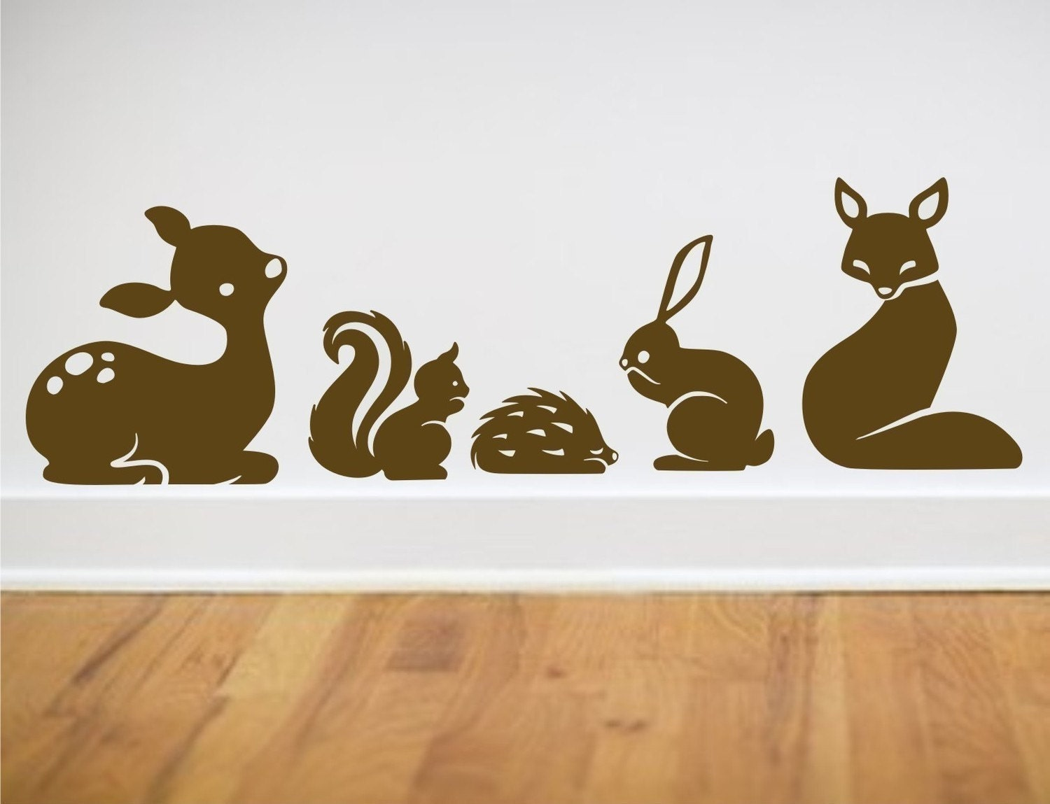 Items similar to animal set wall decals deer fox hedgehog for Deer wall decals