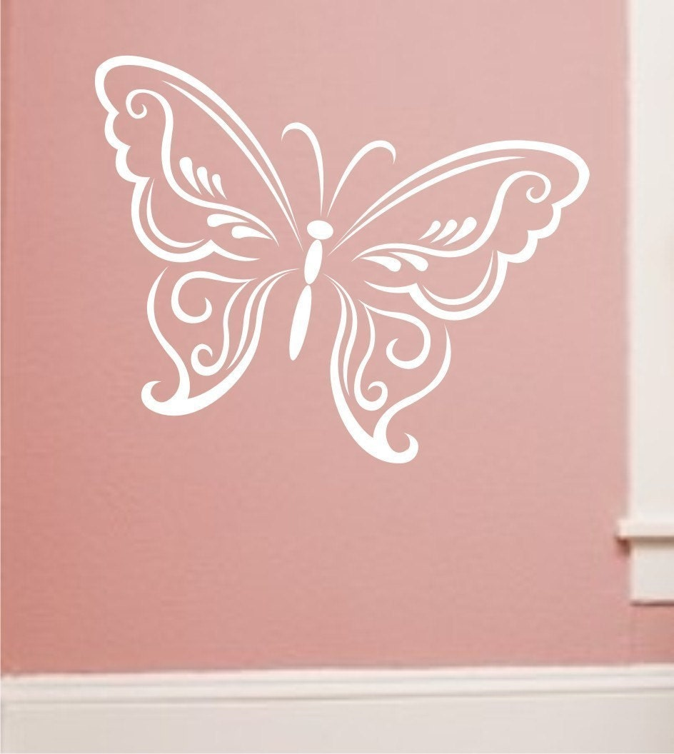 Butterfly wall decal large lacey design choose color for Butterfly wall mural