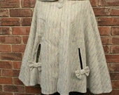 ON SALE Drastically Reduced..... Vintage StyleTweed Bows 'n Buttons Hooded Cape - Ready to Ship