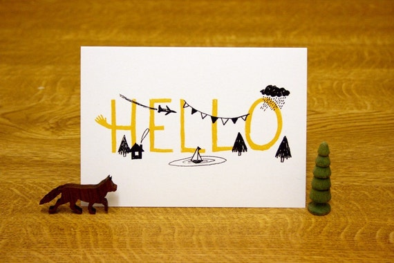 Hello screen printed card
