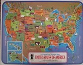 Wonderful Vintage United States frame inlay map puzzle