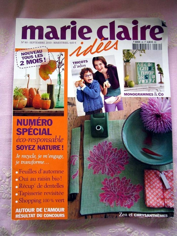 marie claire idees craft magazine september 2010. Black Bedroom Furniture Sets. Home Design Ideas