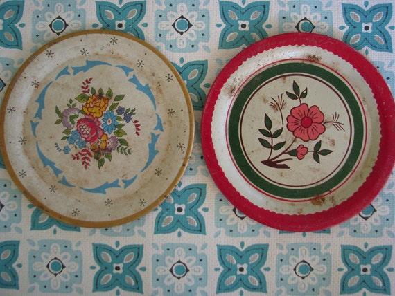 2 Tin Toy Plates