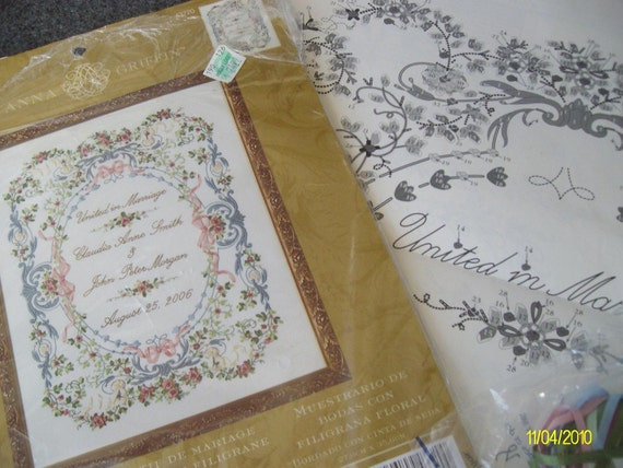 Anna griffin ribbon embroidery kit wedding sampler by