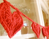Crochet Heart Garland or Bunting - You Choose Color
