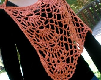 Lacy Crocheted Shawl in Persimmon