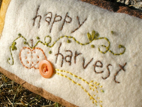 Primitive Embroidered Happy Harvest Mini Pillow - READY TO SHIP