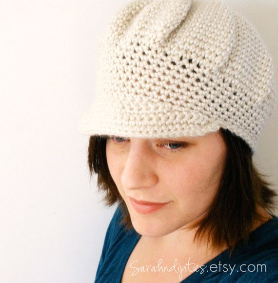 CROCHET PDF PATTERN - Crochet Newsboy Hat with Brim and Layered Flower - Permission to Sell What You Make