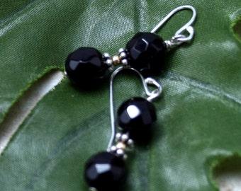 Sale Black onyx earrings, mixed metal earrings