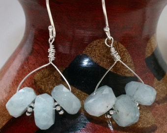 Aquamarine stone earrings sterling silver handmade beaded earrings blue jewelry