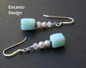 Sale Pearl earrings blue opal sterling silver crystal jewelry