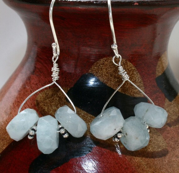 Aquamarine stone earrings sterling silver handmade beaded earrings blue jewelry