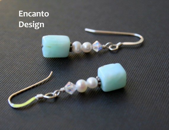 Sale Pearl earrings blue opal sterling silver crystal jewelry