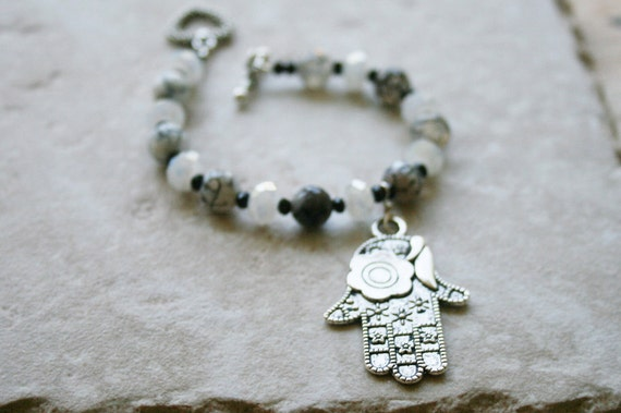 Black and white agate bracelet, silver hamsa metal charm, cyrstal bead jewelry
