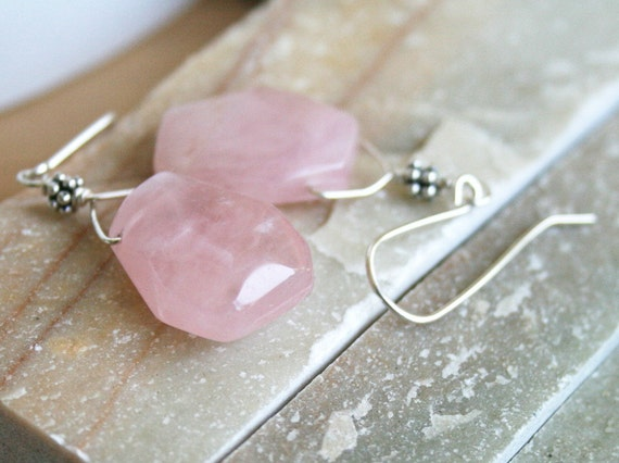 Rose quartz earrings, pink earrings, sterling silver earrings, pink jewelry