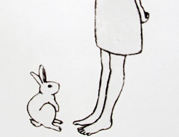 bunny friend, contemporary print / room decor