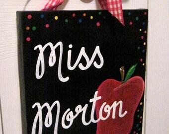 Classic Apple Dots Teacher Gift School Canvas Sign Door Hanger