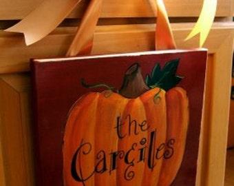 Pumpkin Fall Thanksgiving Halloween Canvas Sign