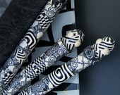 Black and White Obsession Polymer Clay Pen