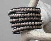 103. White Howlite- Leather Wrap Bracelet