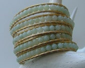108. Amazonite on Gold - Leather Wrap Bracelet