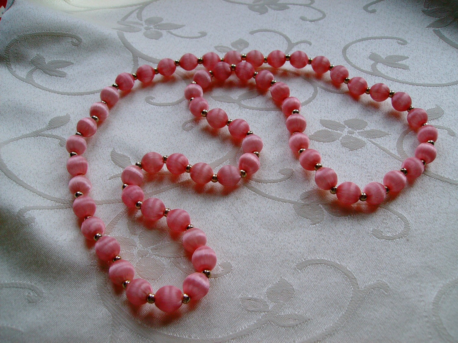 vintage pink silk wrapped bead necklace