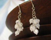 Crystal Quartz Earrings. Gemstones and Sterling Silver. Valentina Ice Clusters