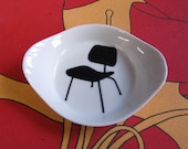 wee white winged dish with eames chair. ready to ship.