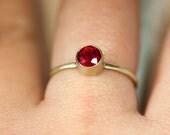 Ruby 14K Gold Ring, Stacking RIng, Gemstone Ring - Made To Order