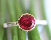 Raspberry Quartz Sterling Silver and 14K Gold Ring, Gemstone Ring, Stacking Ring, Portuguese Cut (Limited Edition) - Made To Order