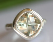 Checkerboard Green Amethyst In Silver Ring - Made To Order