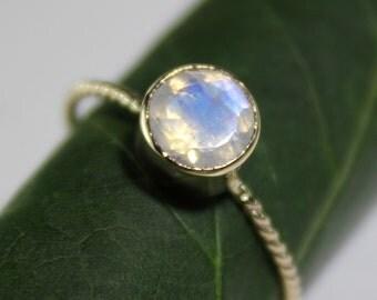 Rainbow Moonstone 14K Gold Ring, Gemstone Ring, Stacking RIng - Made To Order