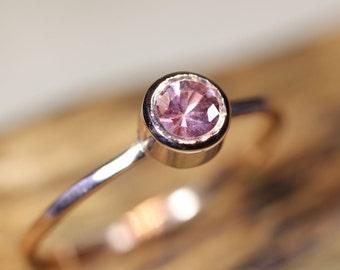 Pink Sapphire 14K Rose Gold Ring, Gemstone Ring, Stacking Ring - Made To Order