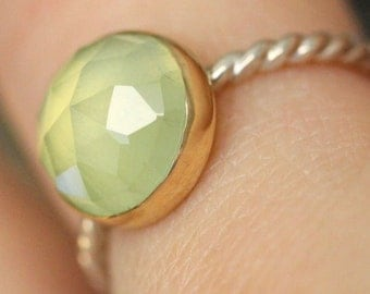 Prehnite Sterling SIlver and 14K Gold Ring, Gemstone Ring, Stacking Ring - Made To Order