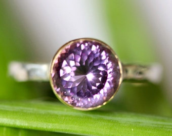 Purple Amethyst Sterling Silver and 14K Gold Ring, Gemstone Ring, Stacking RIng, Protuguese Cut - Made to Order