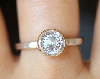 White Topaz Sterling Silver and 14K Gold Ring, Gemstone Ring, Stacking Ring, Portuguese Cut (Limited Edition) - Made To Order