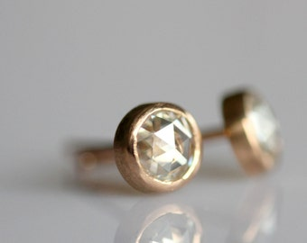 Rose Cut Moissanite 14K Gold Ear Studs (Limited Edition)  - Made to Order