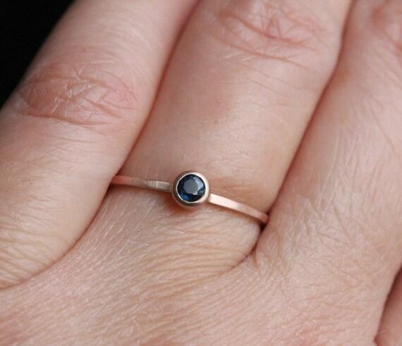 Blue Sapphire 14K Rose Gold, Stacking Ring, Gemstone RIng - Made To Order